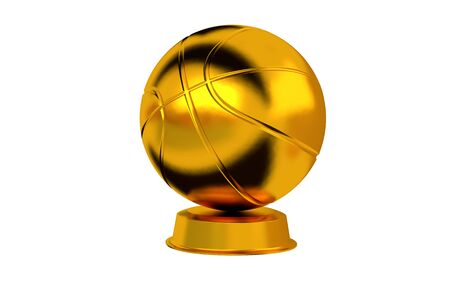 Basketball trophy in Gold with a white background