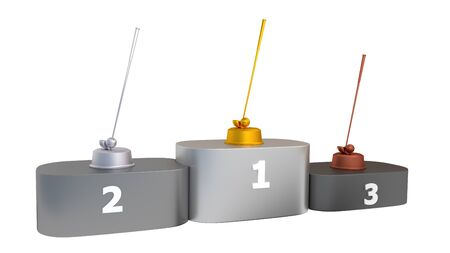 Golf Club and Ball Podium with Gold Silver and Bronze Trophy on a white background Фото со стока