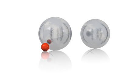 Two Petanque Balls on a reflecting white floor