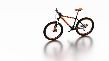 Orange and Black Mountain Bike on a reflecting white floor Фото со стока
