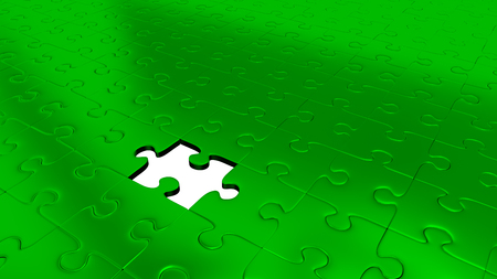 Only One Missing Puzzle Piece into all other Green Puzzle Pieces