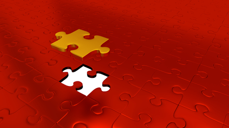 Just One Gold Puzzle Piece above all other Red Puzzle Pieces with one missing piece