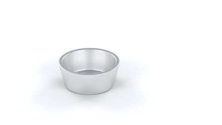 One Basic and Empty Metallic Silver Cup with a White Backgournd