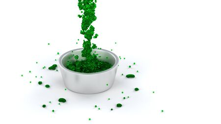 Green and Slimy Fluid of lots of micro balls flowing in a Silver Cup with a White background