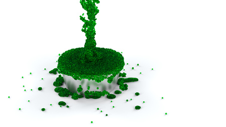 Overflowing Silver Cup of Green and Slimy Fluid with many micro balls which continue flowing with a White background