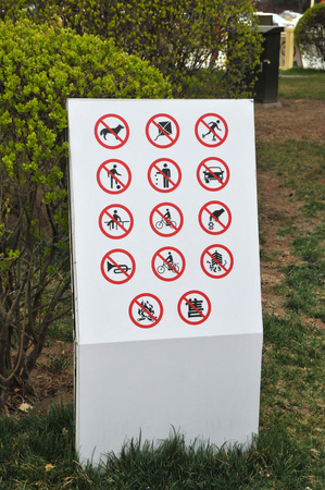Many Bans on Only One Sign in a Chinese Garden in Beijing