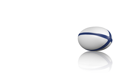 Rugby ball on a reflecting floor with a white background