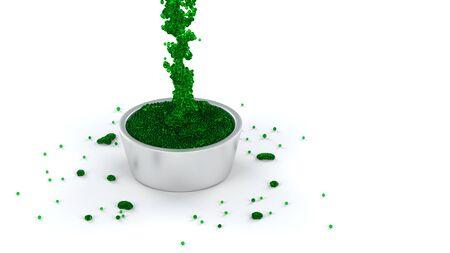 은색 컵에 흐르는 많은 마이크로 볼의 녹색 및 칙칙한 유체는 거의 흰색 배경으로 가득합니다. 스톡 콘텐츠 - 99033111