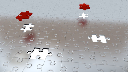 Four White Holes in Puzzle Pieces floor with Two Red Pieces above all other Silver pieces