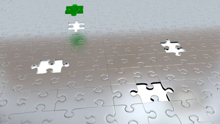 One Green Piece above all other Grey pieces with Four White Holes in Silver Puzzle floor Stock Photo