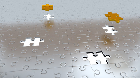 Four White Holes in Puzzle Pieces floor with Two Gold Pieces above all other Silver pieces Stock Photo