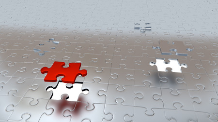 Two White Holes in Puzzle Pieces floor with One Red Piece and One Grey above all other Silver pieces