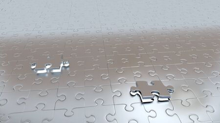 Two White Holes with Two Grey pieces escaping in a Silver Puzzle floor
