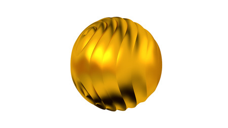 Golden Sphere with many Vertical Waves on Its Surface