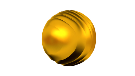Golden Sphere with many Curved and Vertical Waves on Its Surface