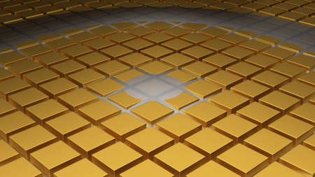 Floor of Golden Cubes with a Big Circle Wave and a Small One in the Middle