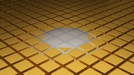 Floor of Golden Cubes with a Beginning of Wave in the Middle