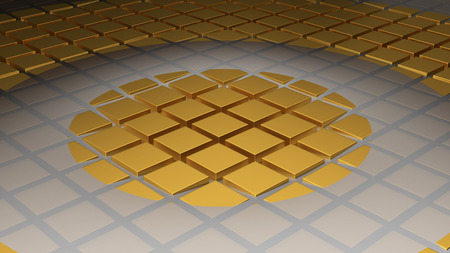 Floor of Golden Cubes with a Big Circle Wave in the Middle