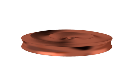 Bronze Circle with many Curved and Circle Waves in the Middle of its Volume