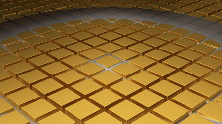 Floor of Golden Cubes with a Big Circle Wave and a New One in the Middle 版權商用圖片
