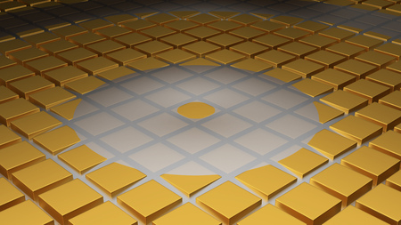 Floor of Golden Cubes with a Circle Wave in the Middle