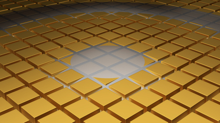 Floor of Golden Cubes with a Big Circle Wave and a Another One in the Middle