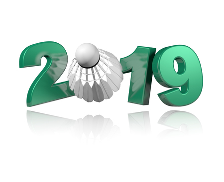 Badminton Shuttlecock 2019 Design with a White Background