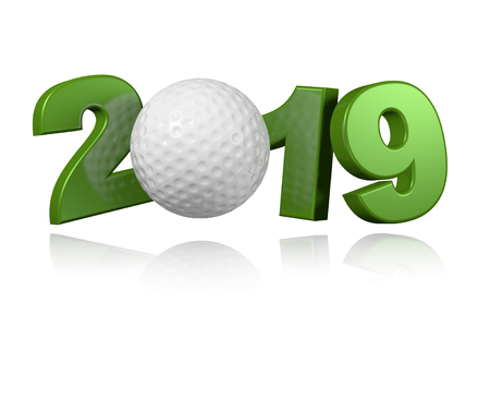 Golf ball 2019 Design with a White Background Banco de Imagens - 102796149