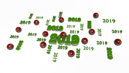 Several Cricket 2019 Designs with Some Balls on a White Background Zdjęcie Seryjne - 102796187