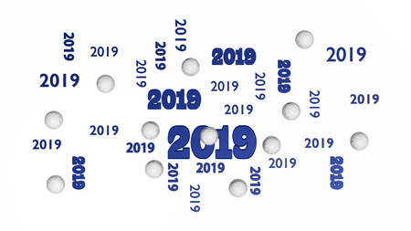 Top View of Several Handball 2019 Designs with Some Balls on a White Background Stock Photo