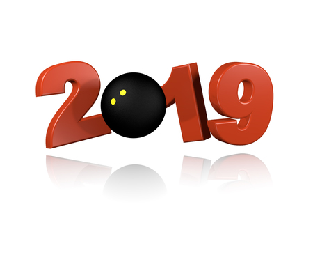 Squash ball 2019 Design with a White Background