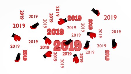 Top View of Several Boxing 2019 Designs with Some Gloves on a White Background Stock Photo