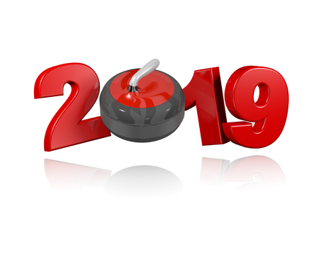 Curling Stone 2019 Design with a White Background