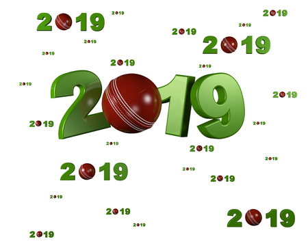 Many Cricket 2019 Designs with many Balls on a White Background