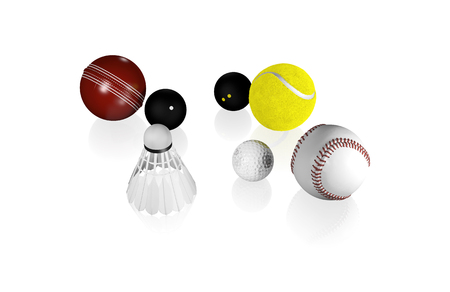 Some small Sport Balls like Tennis Golf Squash and others with a white Background Stock Photo