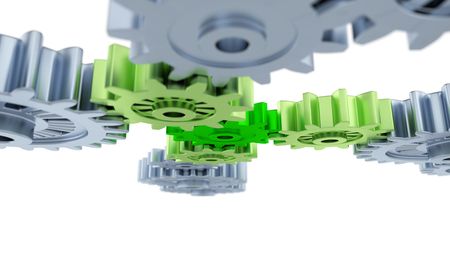 Under Blurred Silver Gears Green and Light Green Gears on a white background