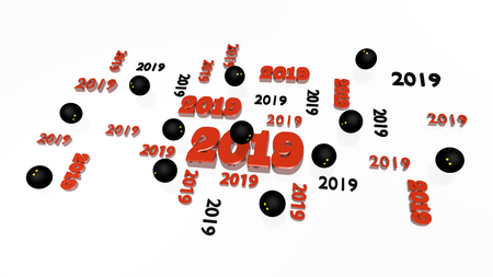 Several Squash 2019 Designs with Some Balls on a White Background Stock Photo