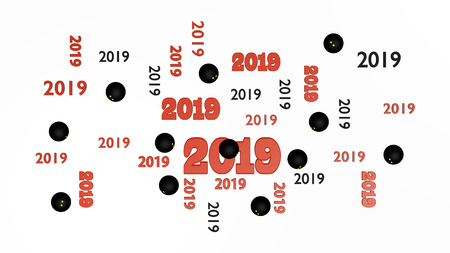 Top View of Several Squash 2019 Designs with Some Balls on a White Background Stock Photo