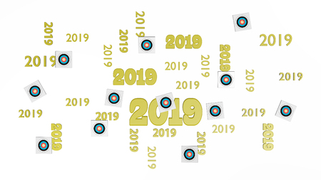 Top View of Several Archery Target 2019 Designs with Some Target on a White Background Stock Photo