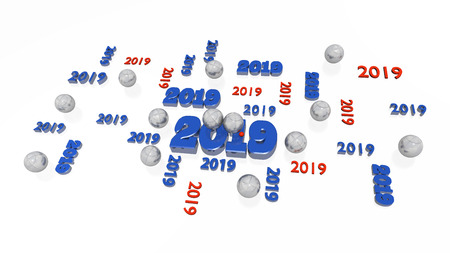 Several Petanque 2019 Designs with Some Balls on a White Background Stock Photo