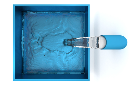 Top View of Water filling up with Small Splash of a Blue Square Bowl with a White Background
