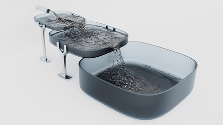 Three Grey Square Bowls Almost Full where Water filling up with a White Background