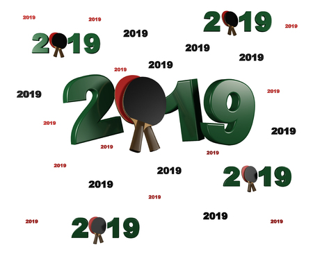 Many Table Tennis 2019 Designs with many Racket on a White Background Stock Photo