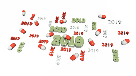 Several Red and White Pill 2019 Designs with Some Pills on a White Background