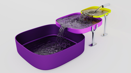 Three Purple and Yellow Square Bowls Almost Full where Water filling up with a White Background