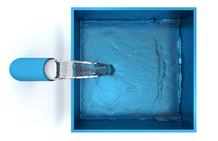 Top View of Water filling up of a Blue Square Bowl with a White Background