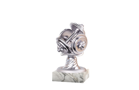 Dumbbell Silver Trophy with Marble Base on a white background