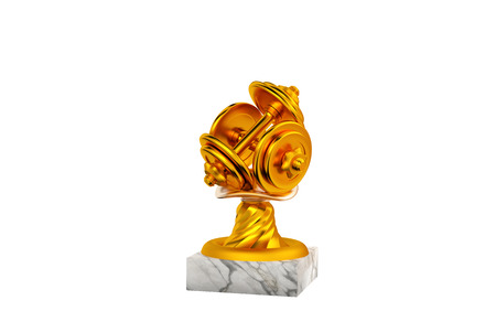Dumbbell Gold Trophy with Marble Base on a white background