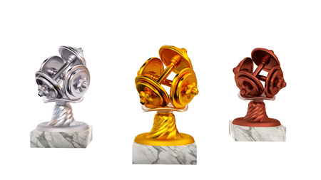 Dumbbell Gold Silver and Bronze Trophies with Marble Bases on a white background Stock Photo