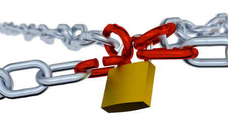 Four big Red Links locked by a Padlock with Four Chains on a blurred background